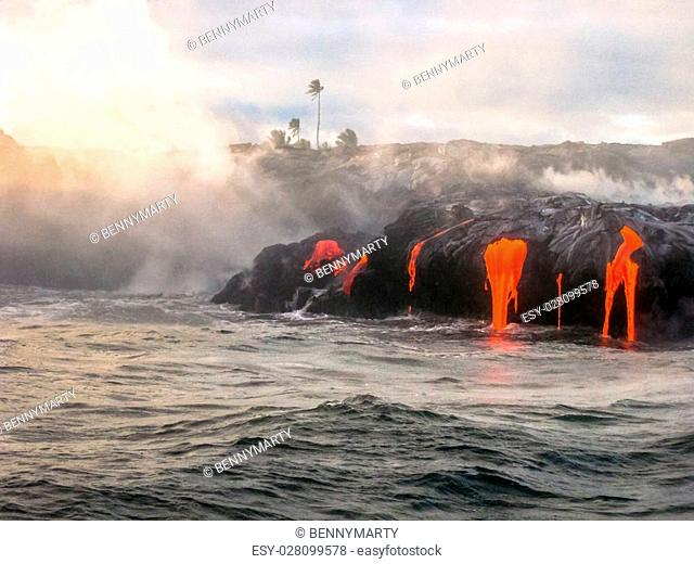Scenic view from boat of Kilauea Volcano in Hawaii Volcanoes National Park, also known Kilauea Smile because from 2016 seems to smile