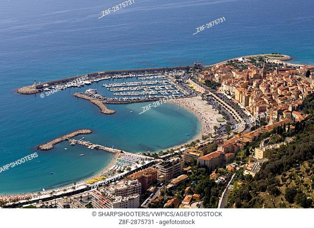 Menton, View from Helicopter, Cote d'Azur, France