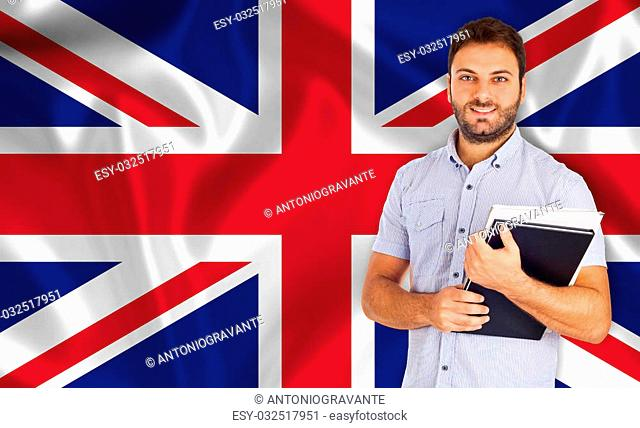 Student smiling over English flag. Concept of lessons and learning of foreign languages