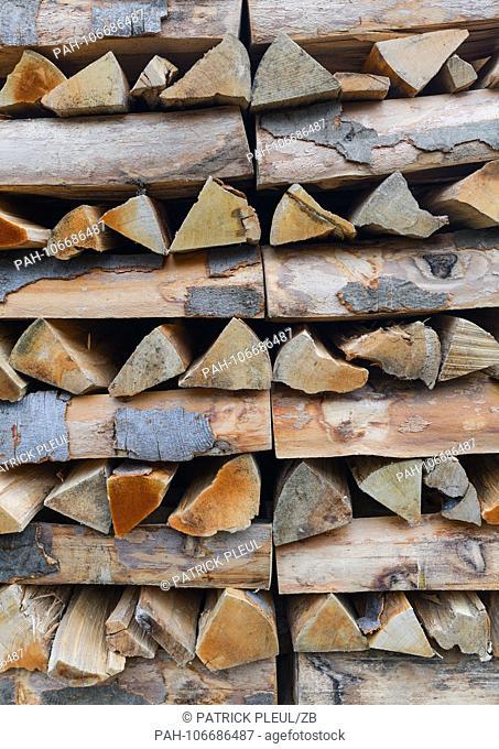 19.07.2018, Brandenburg, Altkunkendorf: Split and stacked beechwood lying on a yard. Photo: Patrick Pleul / dpa-Zentralbild / ZB | usage worldwide