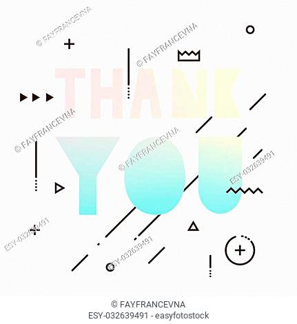 Thank you text with elements of geometry. Coloured texture hipster style letters by hand