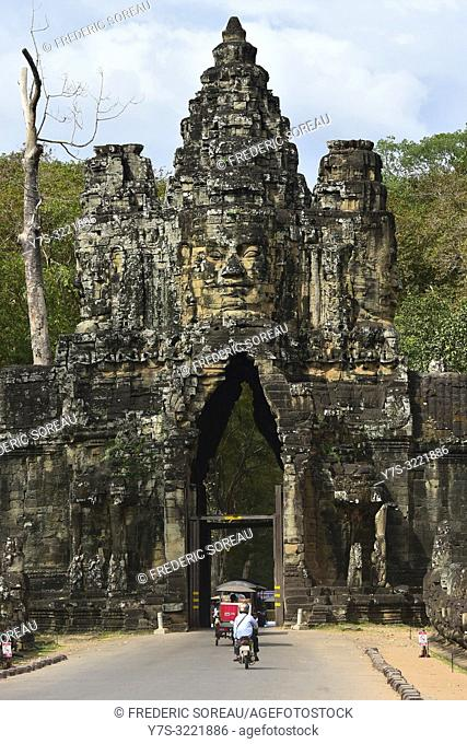 South gate,Angkor Thom archaelogical park,Unesco World Heritage Site,Siem Reap,Cambodia,South east Asia