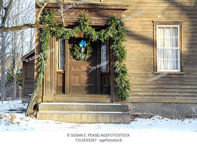 Front door of a home in Old Deerfield, Massachusetts, United States, North America. Editorial use only