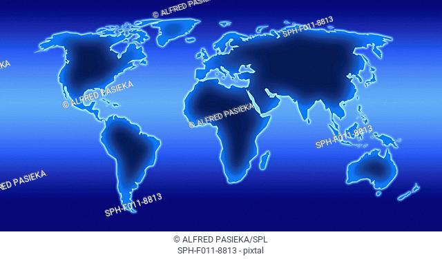Computer artwork of a world map illustration
