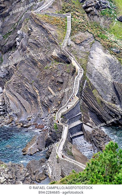 Gaztelugatxe, islet on the coast of Biscay. Connected to the mainland by a man-made bridge. On top of the island stands a hermitage named Gaztelugatxeko Doniene...