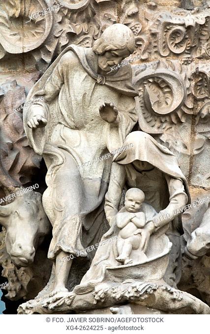 Nativity façade detail. Sagrada Familia, Barcelona, Catalonia, Spain