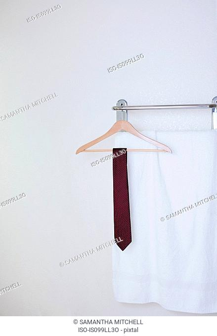 Tie on clothes hanger in hotel bathroom