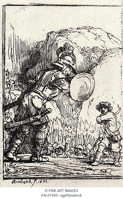 David and Goliath. Illustration for Piedra gloriosa by Menasseh ben Israel by Rembrandt van Rhijn (1606-1669)/Copper engraving/Baroque/1655/Holland/Private...