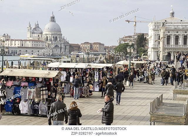 Venice Veneto Italy on January 21, 2019: Basilica Santa Maria della Salute from St Marks square