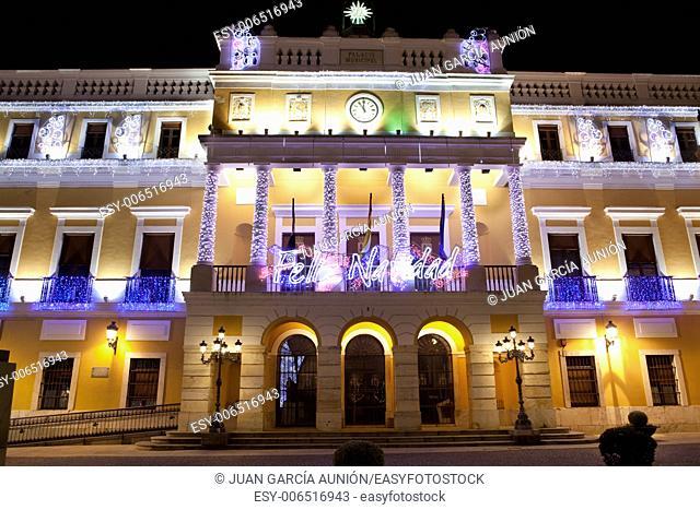 Christmas led light decoration of Badajoz Town Hall at night, Spain