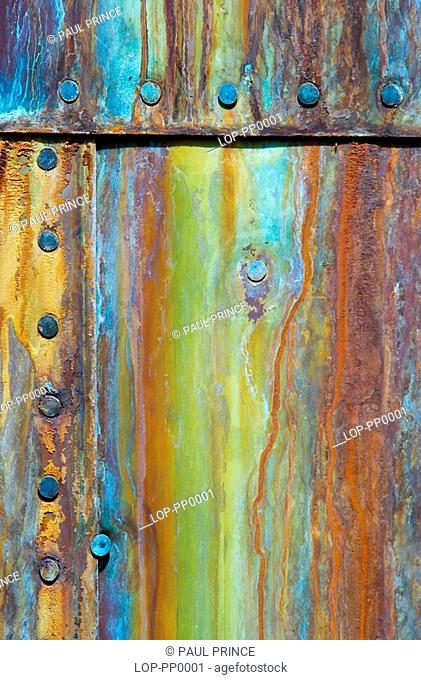 England, London, Greenwich, Abstract of corroded copper hull plate of the Cutty Sark. On 21st May 2007, a fire devastated the world's most famous ship and...