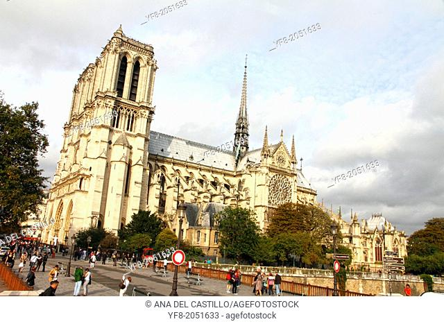 PARIS, FRANCE-OCTOBER, 11: Notre dame cathedral is a gothic building and World Heritage Site, on October 11, 2012 in Paris
