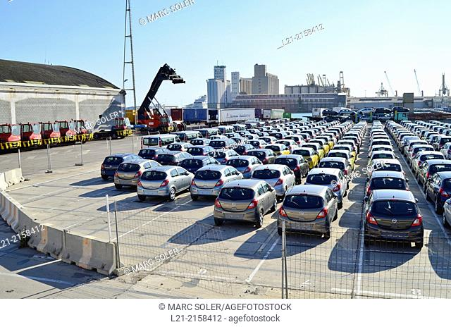 Cars waiting to board. Harbour, Barcelona, Catalonia, Spain
