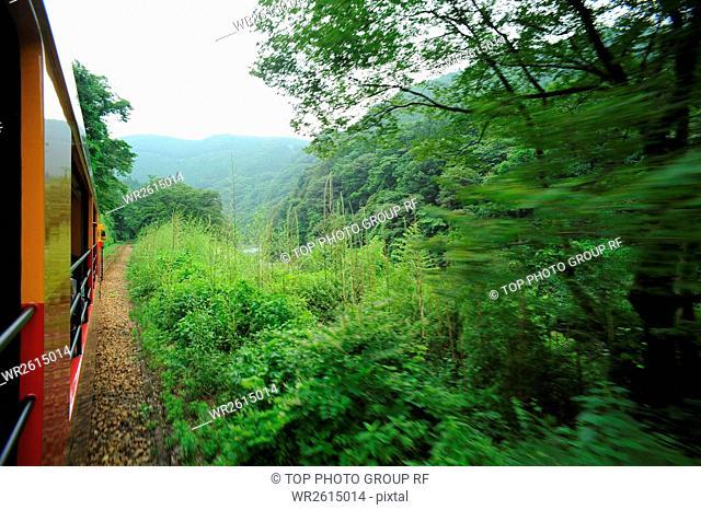 stream valley,Watarase,Railroad,Gunma,Japan