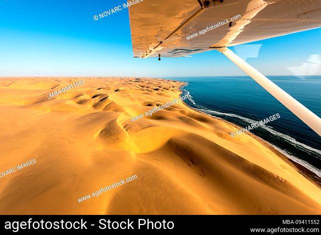 Flight over dunes of Sossusvlei and Skeleton Coast, Namibia, Africa