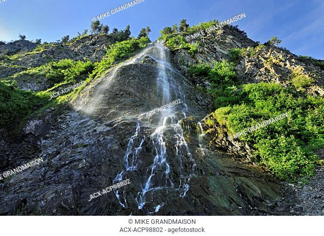 Waterfall along a cliff La Martre Quebec Canada