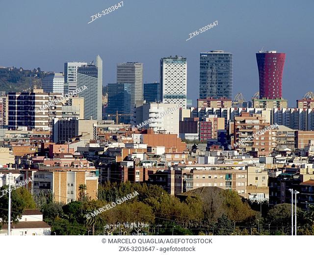 Skyscrapers in Barcelona, including famous Hotel Porta Fira and Renaissance Hotel. Hospitalet de Llobregat city. Barcelona Metropolitan Area, Catalonia, Spain
