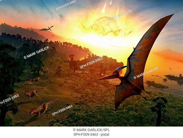 Artwork depicting the extinction of the dinosaurs, some 65 million years ago. Scientists are now as certain as they can be that the extinction of the dinosaurs...