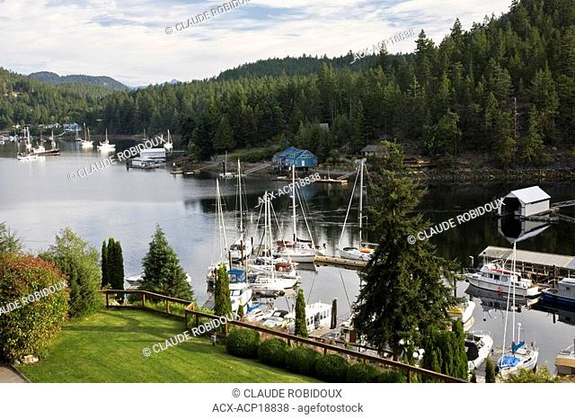 View of Pender Harbour from Madeira Park after sunrise on the Sunshine Coast of British Columbia, Canada
