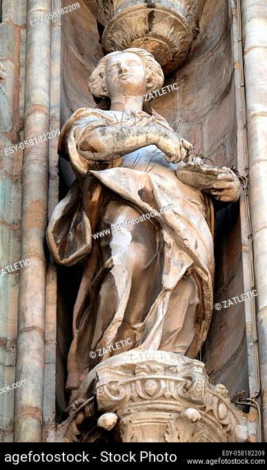 Saint Liberata, statue on the Milan Cathedral, Duomo di Santa Maria Nascente, Milan, Lombardy, Italy