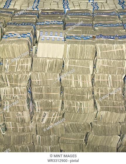 US Cash Bundles the US Federal Reserve Bank of Chicago strong room