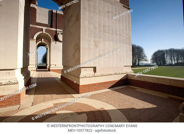 The Memorial to the Missing. Designed by Sir Edwin Lutyens (1869-1944). Largest British war memorial stands almost 50m high