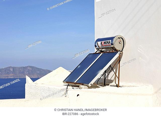 A simple solar powered water heating device, Santorini, Greece
