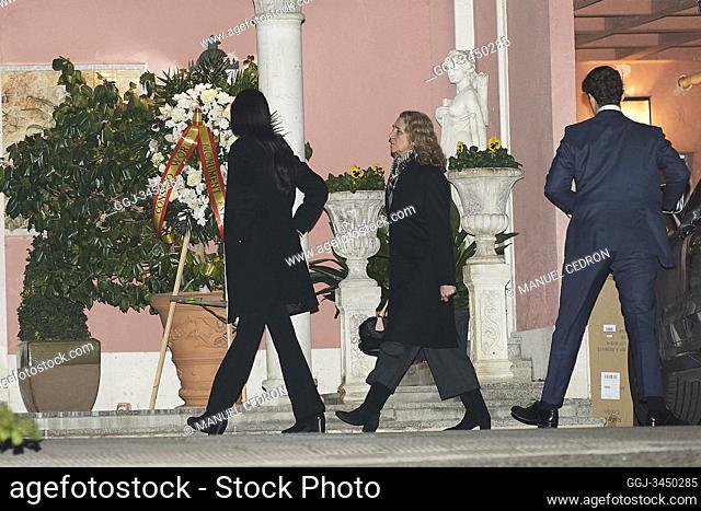 Princess Elena de Borbon, Victoria Federica de Marichalar, Felipe Juan Froilan de Marichalar attends Princess PIlar Borbon funeral chapel installed in the...