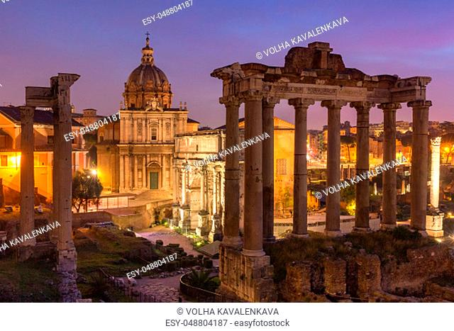 Ancient ruins of a Roman Forum or Foro Romano at sunsrise in Rome, Italy. View from Capitoline Hill