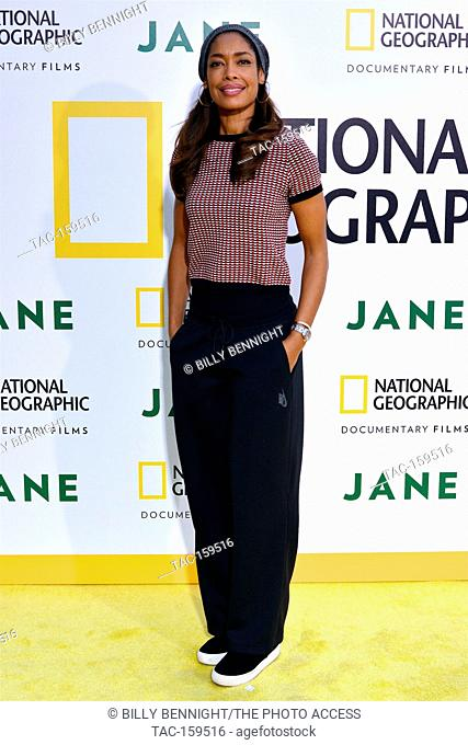 "Actress Gina Torres arrives at the Los Angeles Premiere of National Geographic Documentary Films' """"Jane"""" at the Hollywood Bowl in Hollywood"