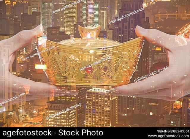 Holding Chinese New Year Gold Ingot, Night City View