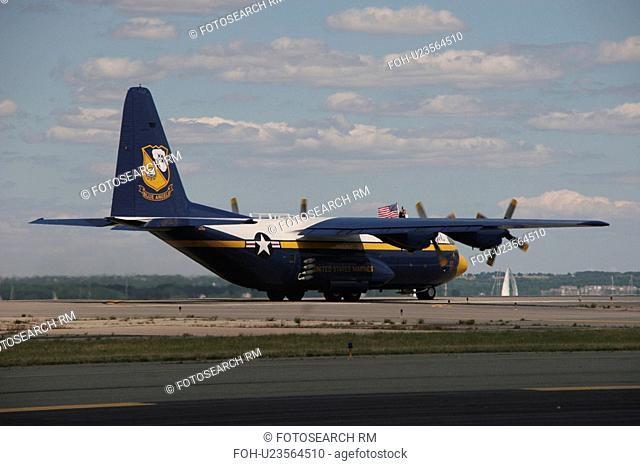 marines c130j30 blue angels american flag aerial