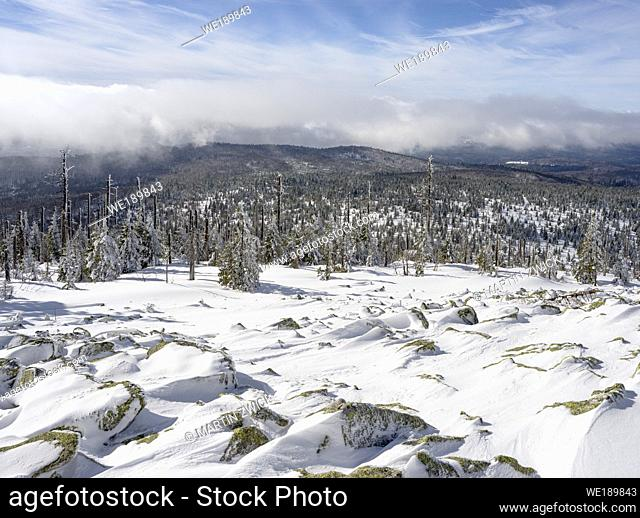 View from peak of Mount Lusen. Winter at Mount Lusen in National Park Bavarian Forest (Bayerischer Wald), Europe, Central Europe, Germany, Bavaria