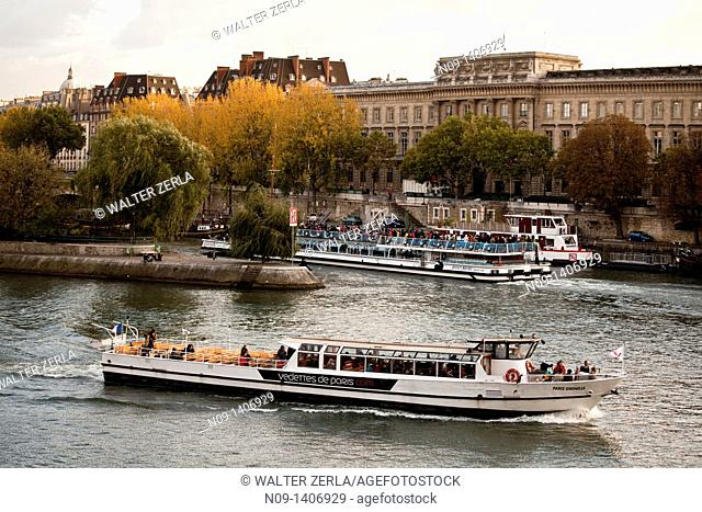 Cruise ship on the Seine river in Paris, France