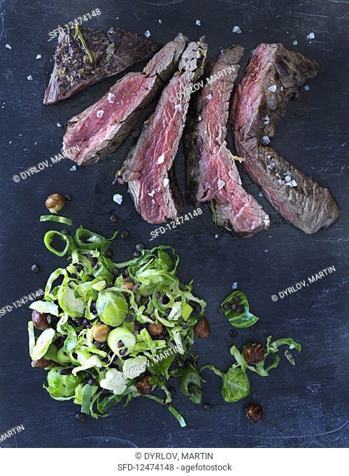 Flat iron steak with a Brussels sprouts salad