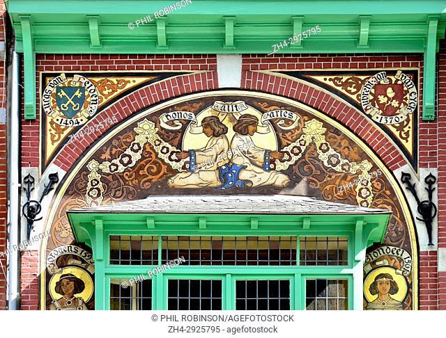 Brussels, Belgium. 170 Rue Georges Moreau (1908: Hector Gerard) Facade detail