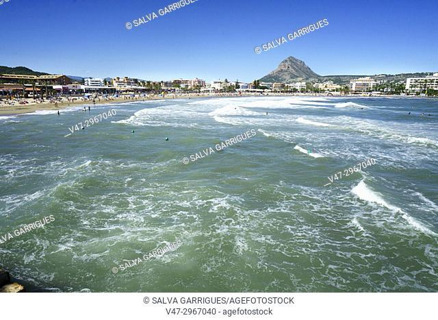 Waves on the beach of El Arenal in Javea, Alicante, Valencia, Spain, Europe
