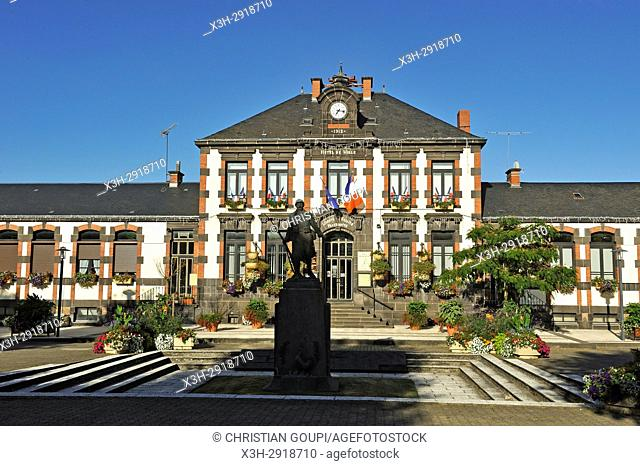World War II memorial in front of the city hall of Saint-Eloy-les-Mines, Puy-de-Dome department, Auvergne-Rhone-Alpes region, France, Europe