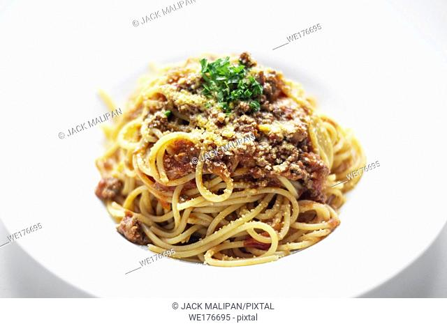 spaghetti pasta bolognaise bolognese with beef and tomato parmesan sauce dish