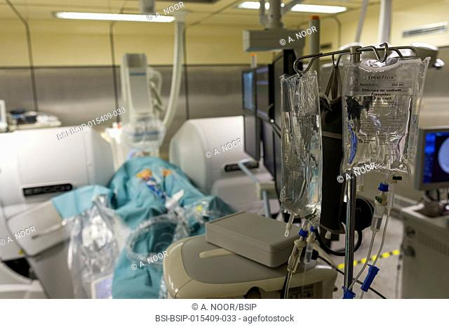Reportage in the Interventional Cardiology and Rythmology service in Saint George Clinic in Nice, France. Radiofrequency ablation of cardiac arrhythmia using...