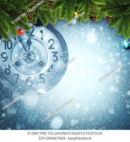 Abstract Xmas backgrounds with old watches and christmas decorations