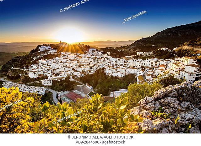 Panoramic at sunset. White village of Casares, Malaga province Costa del Sol. Andalusia Southern Spain, Europe