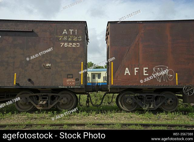 Disused railway coaches, engines and stock in the former Artigas Central rail station in Montevideo, Uruguay, South America