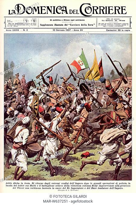 GUERRA D'AFRICA ORIENTALE Battaglioni indigeni guidati da Ras Hailé (Sovrano del Goggiam, passato dalla parte degli italiani) rientrano vittoriosi in Addis...