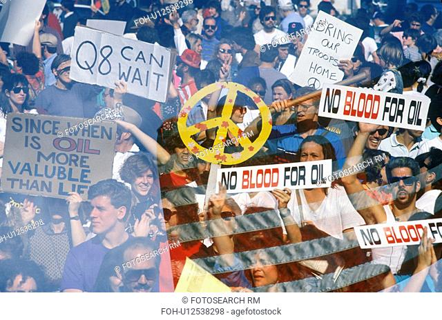 """No Blood For Oil"""" signs, Gulf War, Middle East, Iraq"""