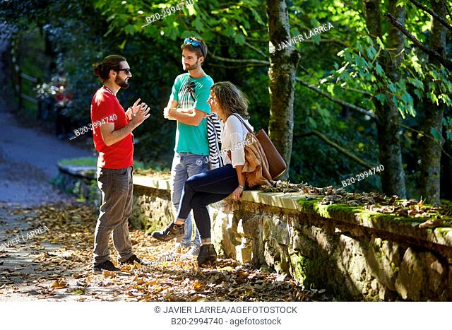 Group of tourists and guide making a tour of the city, Climb to Mount Urgull, Cemetery of the English, Donostia, San Sebastian, Gipuzkoa, Basque Country, Spain