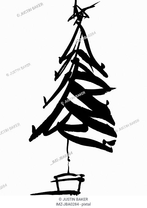 A black and white drawing of a christmas tree