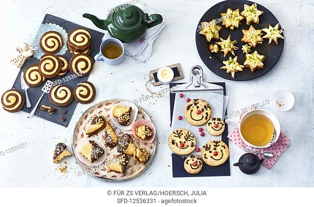 Various decorative butter cookies for Christmas