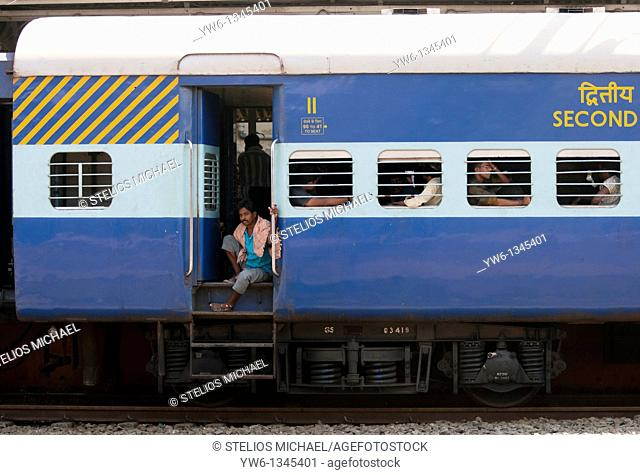 Close up of Second Class Railway Carriage at Ernakulam Station, Cochin, India