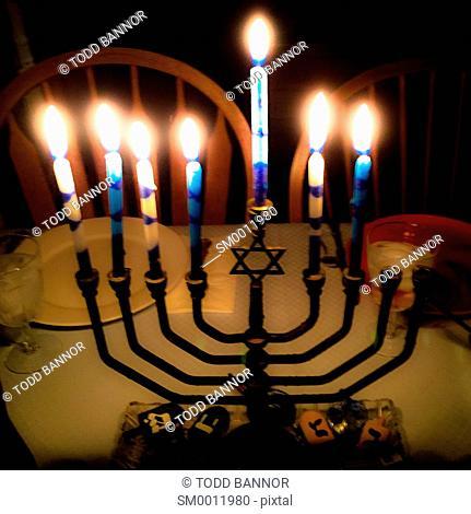 Menorah on seventh night of Hanukkah